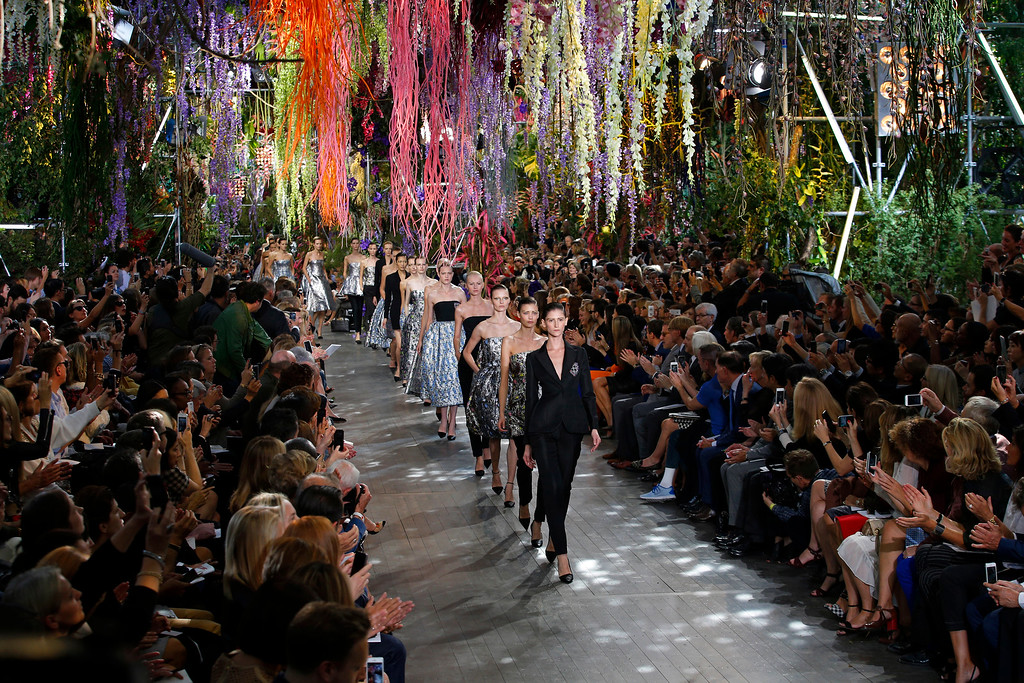 . Models present creations as part of Christian Dior\'s ready-to-wear Spring/Summer 2014 fashion collection, presented Friday, Sept. 27, 2013 in Paris. (AP Photo/Christophe Ena)