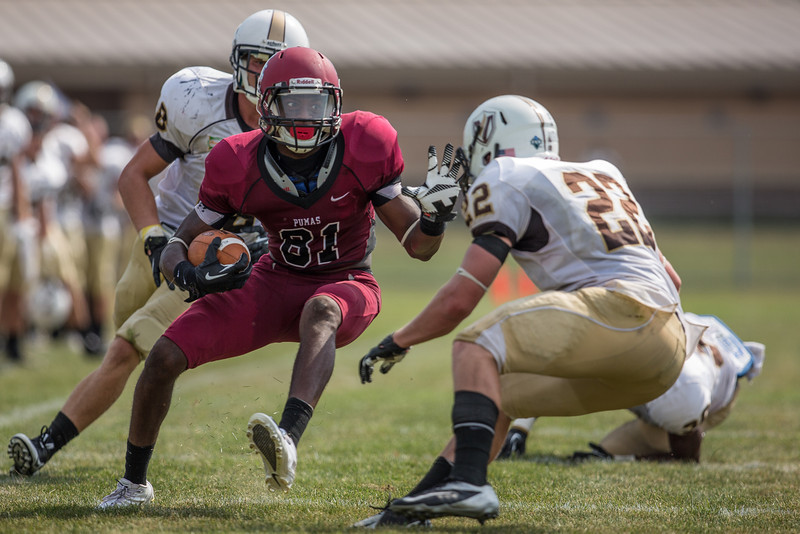 Alphonso Hines (81) tries to evade a defender during the college football game on September 7th, 2013 at Alumni Stadium. the St. Joseph's Puma's won 34-31 over the Valparaiso Crusaders