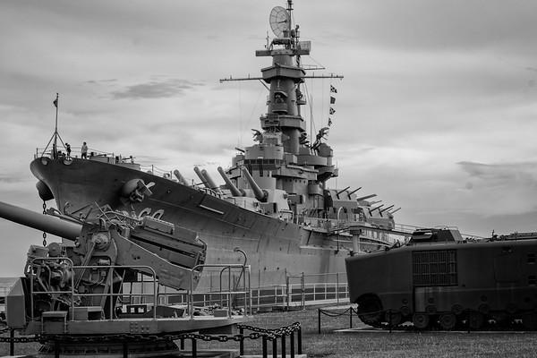 BB 60 USS Alabama  - Black and White