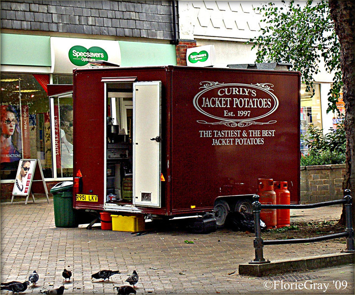 EVERYONE eats at Curly's on Market Day; Banbury, UK