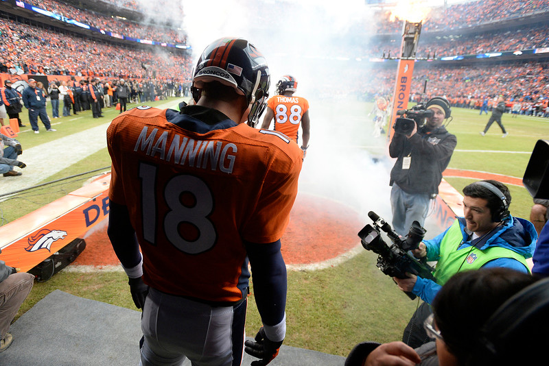 . Peyton Manning (18) of the Denver Broncos waits to take the field before the game. The Denver Broncos played the Indianapolis Colts in an AFC divisional playoff game at Sports Authority Field at Mile High in Denver on January 11, 2015. (Photo by John Leyba/The Denver Post)