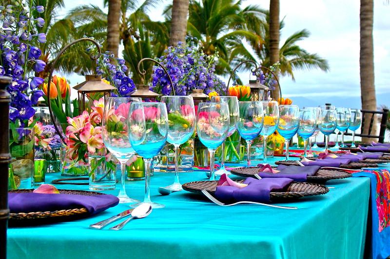 18 Adults Rectangular Table Setting Wedding Photography in Puerto Vallarta By International Award Winning Photographer Andres Barria Davison