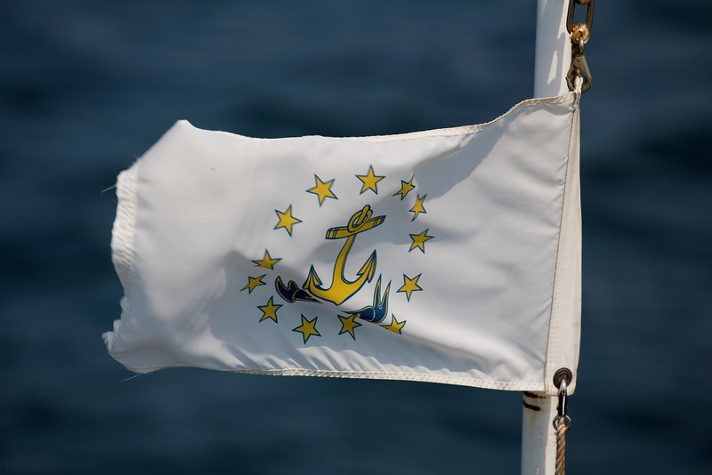 The Blount ship's flag is a paraphrase of the Rhode Island state flag.