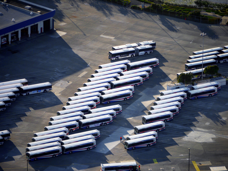 Where the buses hang out when they're not on the job at SFO.