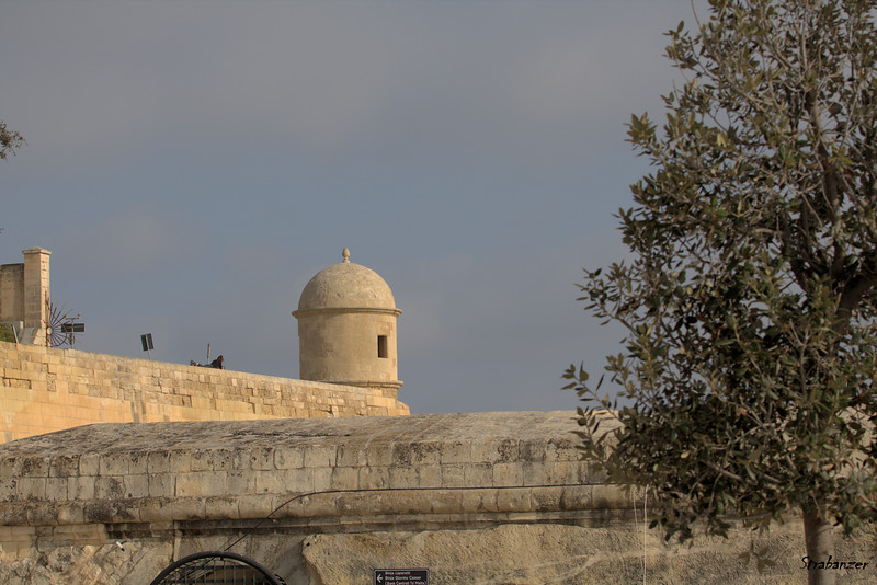 Valletta, Malta.     Turret on a wall.