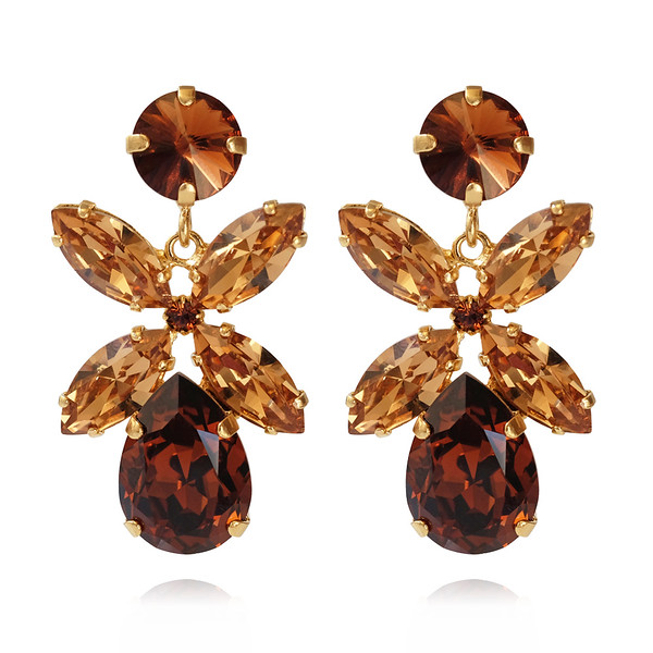 Dione Earrings / Smoked Topaz + Light Colorado Gold