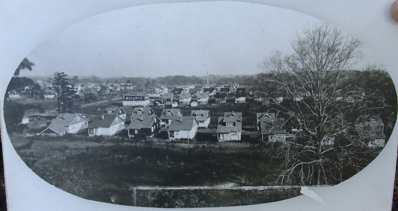 """Taken about 1929 this is a photo of Grandview Ave. and Floyd Terrace and their newly build homes. These homes are a few of the many that Andress Floyd and his partner Frank B. Crawford had built. We think that this photo was taken from an upstairs window in the Hoyt Mansion in the Self Master Colony or """"Village"""" as it was known after 1925."""