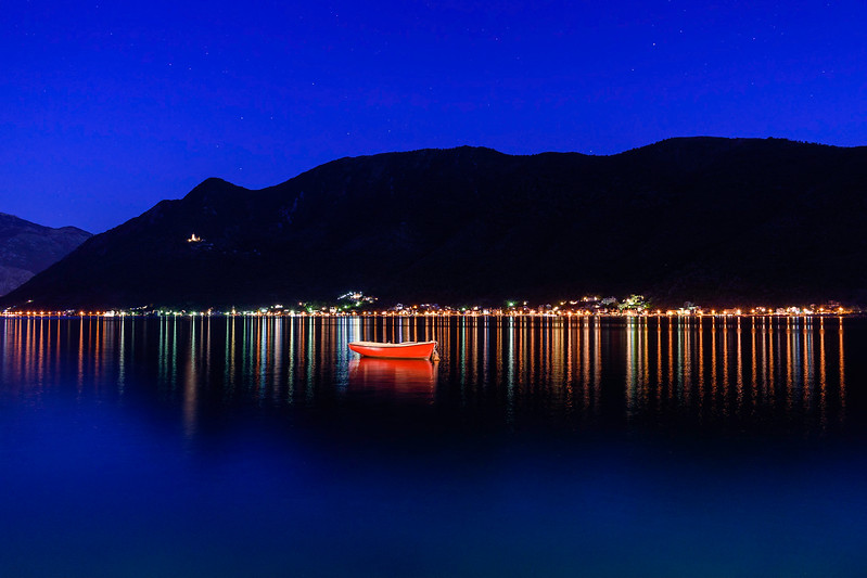 Fishing boat on Bay of Kotor, Montenegro
