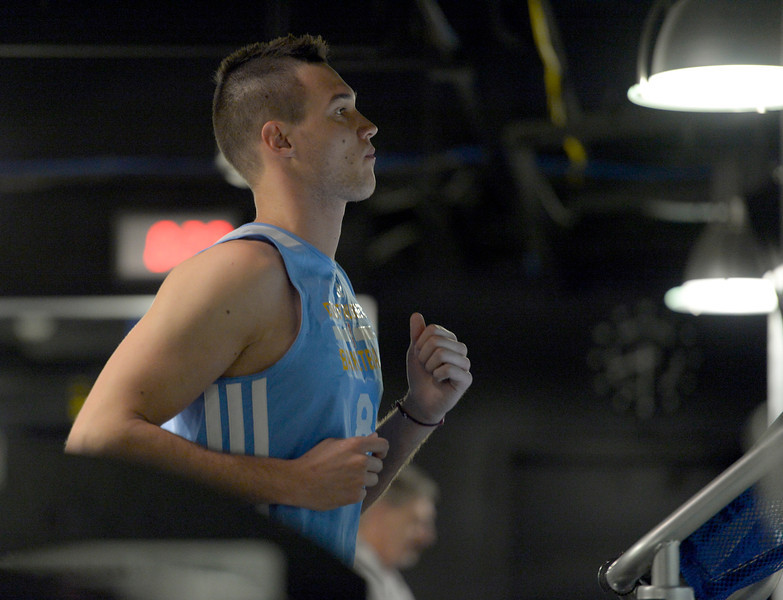 . Denver Nuggets Danilo Gallinari on the tread mill during his rigorous workout with assistant coach/strength and conditioning Steve Hess May 27, 2014 at Pepsi Center. (Photo by John Leyba/The Denver Post)