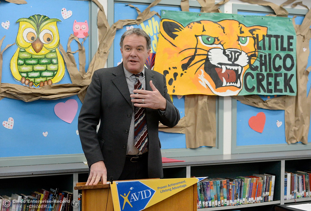 . BCOE Superintendent Tim Taylor speaks as Butte County Educational leaders gather at Little Chico Creek Elementary School in Chico, Calif. to sign the Butte County Promise Thursday Feb. 1, 2018. The Promise is to all students in Butte County for an opportunity at a college education. (Bill Husa -- Enterprise-Record)