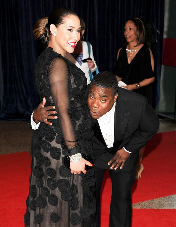 . Actor Tracy Morgan and pregnant girlfriend Meghan Wollover attend the White House Correspondents\' Dinner at the Washington Hilton on Saturday April 27, 2013 in Washington. (Photo by Evan Agostini/Invision/AP)