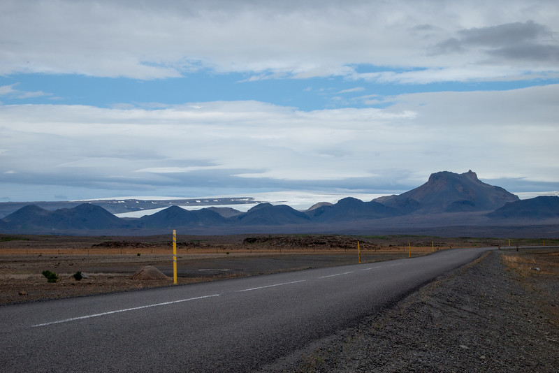 The last paved part of the Kjölur road (Road F35) with the Langjokull glacier in the background.