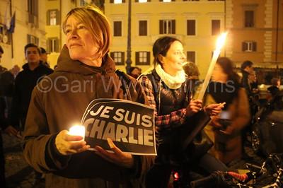 Vigil for the Charlie Hebdo terrorist attack victims in Rome Italy