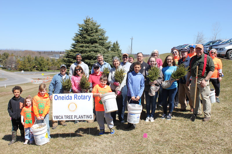 Charles Pritchard - Oneida Daily Dispatch Oneida Rotary with members of Interact and Madison County 4H Club come together to plant trees for Earth Day on Sunday, April 22, 2018.