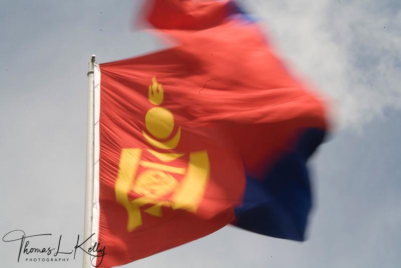 Mongl Flag in Ulaanbatar, Mongolia.
