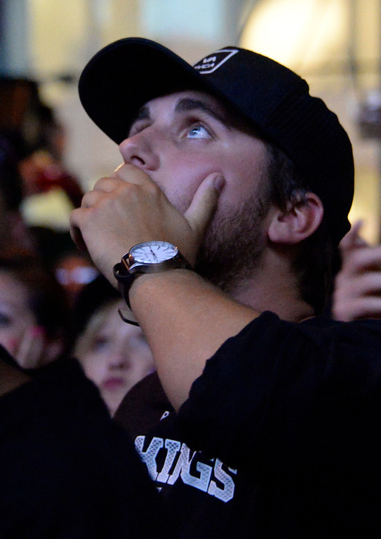 . June 13,2014. Los Angeles. CA.  LA Kings fans reactions as they watch  2-OT with the Kings winning the Stanley Cup.  Photo by Gene Blevins/LA DailyNews