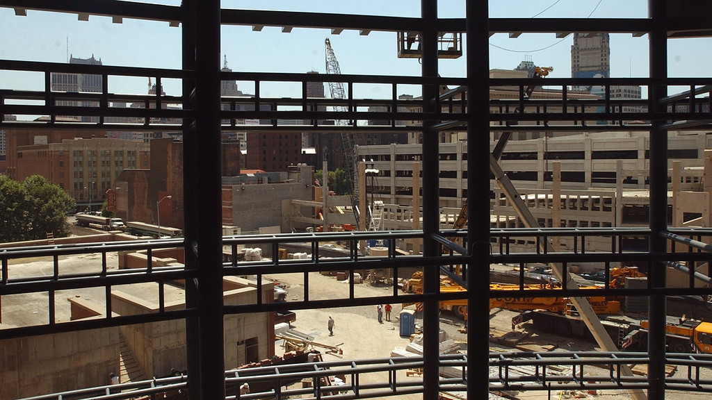 . A skyline view of downtown Detroit from inside the new Ford Field, future site of the NFL Detroit Lions in downtown Detroit.