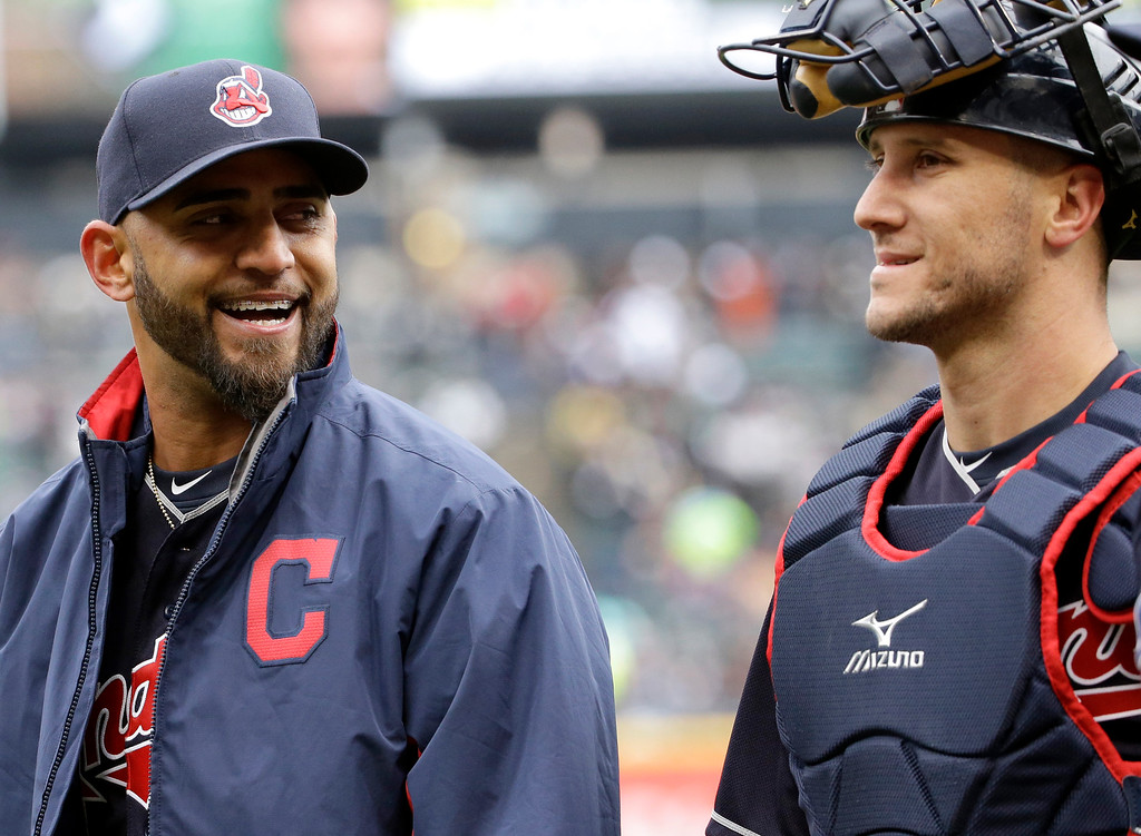 . Cleveland Indians starter Danny Salazar, left, smiles as he talks with catcher Yan Gomes before a baseball game against the Chicago White Sox Friday, April 8, 2016, in Chicago. (AP Photo/Nam Y. Huh)