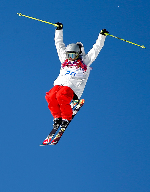 . Luca Schuller of Switzerland in action  during the Men\'s Freestyle Skiing Slopestyle Qualification in the Rosa Khutor Extreme Park at the Sochi 2014 Olympic Games, Krasnaya Polyana, Russia, 13 February 2014.  EPA/VALDRIN XHEMAJ