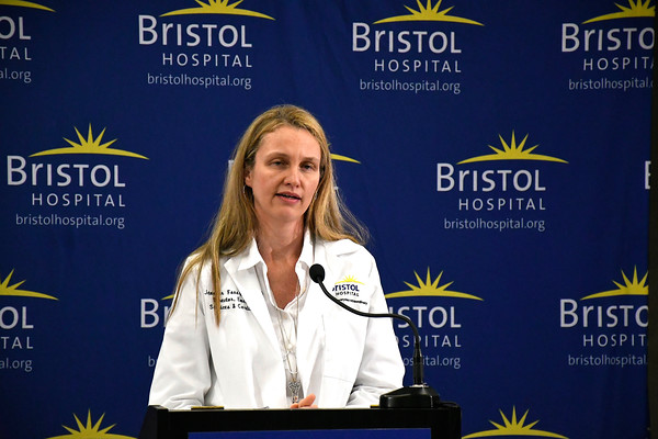 6/8/2018 Mike Orazzi | Staff Bristol Hospital's Jennifer Foss, MSN, NEA-BC, RN-BC —Director, Nursing Operations during the Hospitals Against Violence Day held at Bristol Hospital Friday morning.