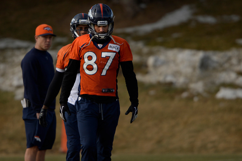 . Wide receiver Eric Decker #87 of the Denver Broncos breaks for practice in Centennial at Dove Valley January 10, 2014 Centennial, Colorado. (Photo by Joe Amon/The Denver Post)