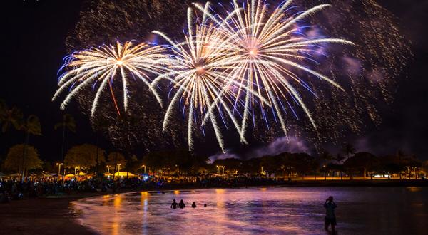 Fireworks on Friday night  on Waikiki Beach