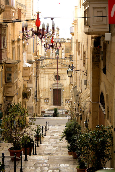 Valletta, Malta.     Stairs down to St Ursula Street   03/23/2019