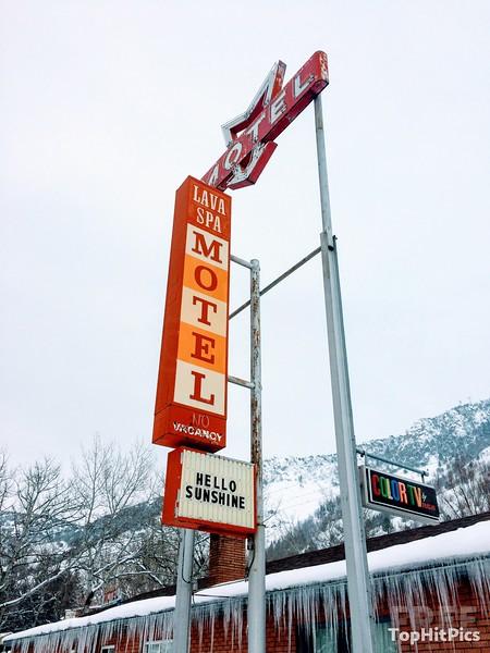 The Lava Spa Motel & RV Park Retro Sign in Lava Hot Springs, Idaho