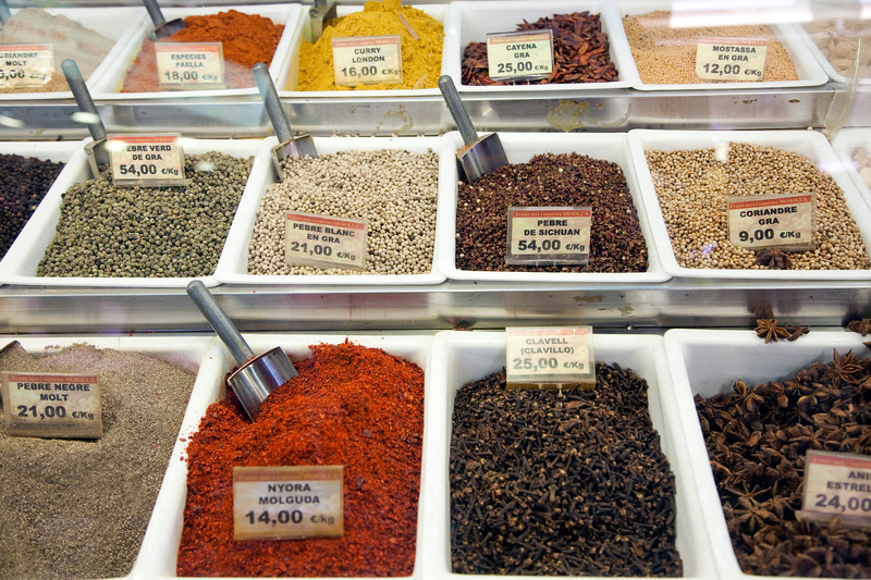 Spices, Boqueria market, town of Barcelona, autonomous commnunity of Catalonia, northeastern Spain