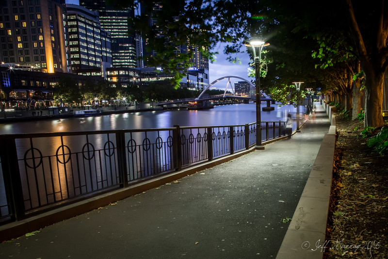 The walkway along Flinder's Street Station opposite Southbank.