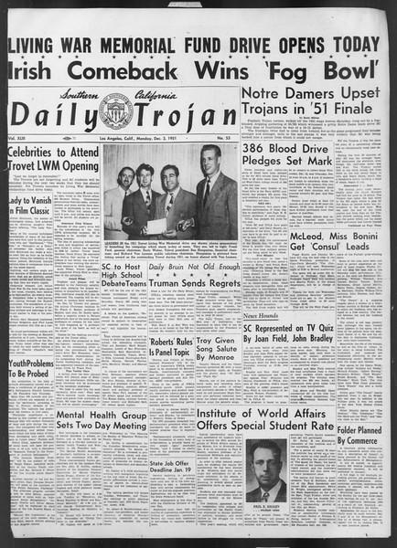 Daily Trojan, Vol. 43, No. 53, December 03, 1951