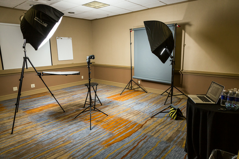 Behind the scenes photo of the lighting setup for head shots at the NDI annual staff meeting.