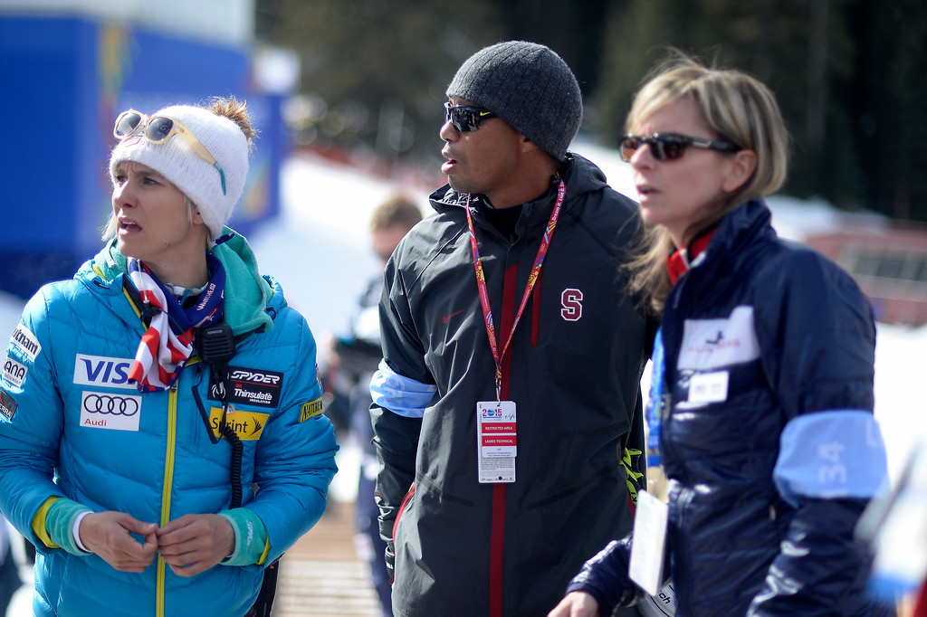 . BEAVER CREEK, CO - FEBRUARY 12: Tiger Woods -- boyfriend of USA skier Lindsey Vonn -- watches the action during the ladies\' giant slalom. FIS Alpine World Ski Championships 2015 on Thursday, February 12, 2015. (Photo by AAron Ontiveroz/The Denver Post)