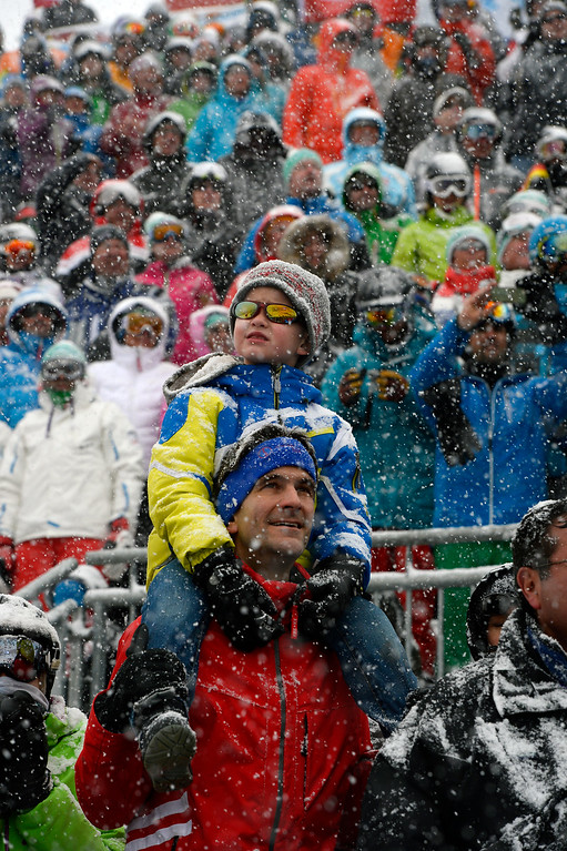 . BEAVER CREEK, CO - FEBRUARY 15: Spectators cheer for the ski racers as they finish the Men\'s Slalom at the FIS Alpine World Ski Championships in Beaver Creek, CO on February 15, 2015. (Photo By Helen H. Richardson/The Denver Post)