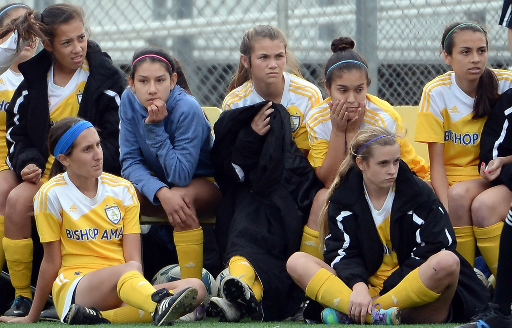 . Bishop Amat bench looks on in the second half of a CIF-SS second round prep playoff soccer match against Diamond Bar at Diamond Bar High School in Diamond Bar, Calif., on Wednesday, Feb.26, 2014. Diamond Bar won 3-2. (Keith Birmingham Pasadena Star-News)