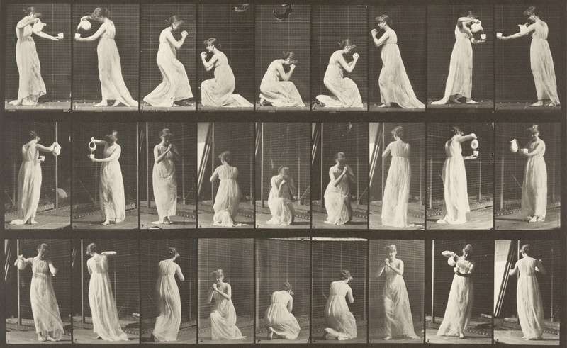 Woman performing various movements (Animal Locomotion, 1887, plate 502)
