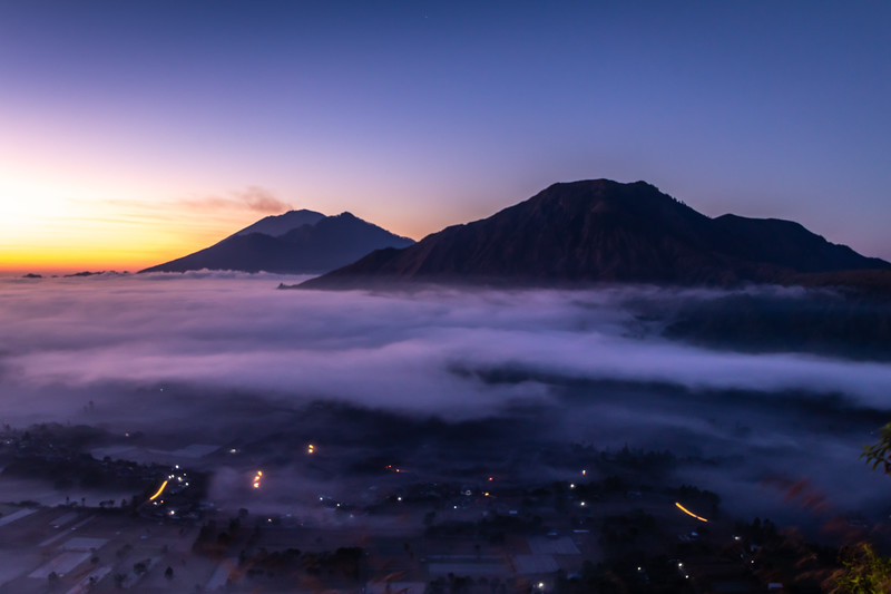 A smoking volcano in Bali.