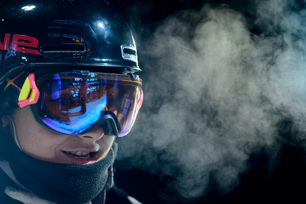 . ASPEN, CO. - JANUARY 24: Anais Caradeux breathes during warmup for the women\'s ski superpipe final. X Games Aspen Buettermilk Mountain Aspen January 25, 2013 (Photo By AAron Ontiveroz / The Denver Post)
