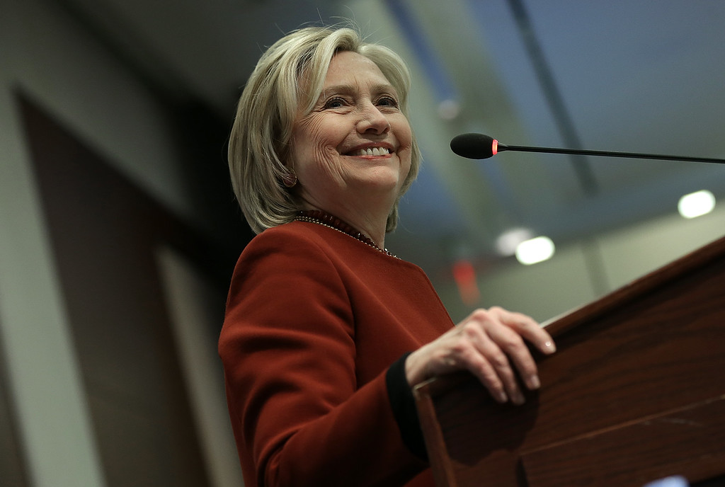 . Former U.S. Secretary of State Hillary Clinton speaks at an award ceremony for the 2015 Toner Prize for Excellence in Political Reporting March 23, 2015 in Washington, DC.   (Photo by Win McNamee/Getty Images)