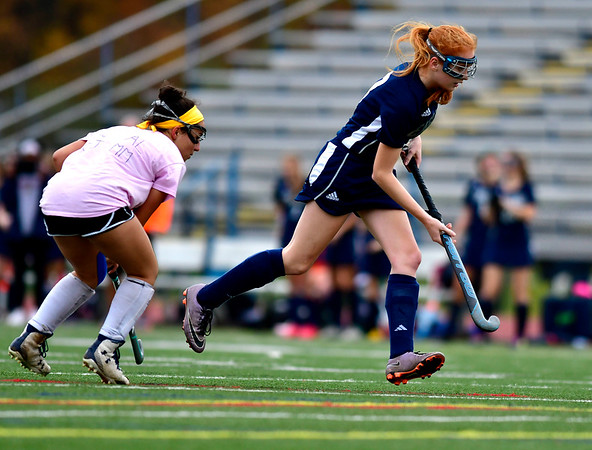 11/2/2018 Mike Orazzi   Staff Wethersfield's Lorien Touponse (3) during field hockey at Southington High School Friday.