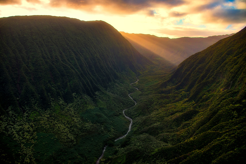 Sunrise above Maui rain forests, Hawaii