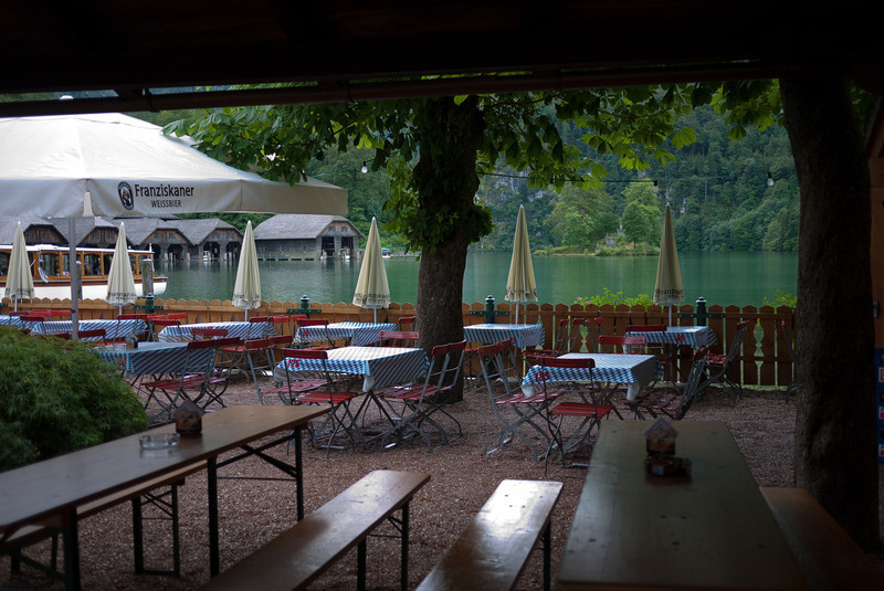 Outdoor restaurant on the Königssee (Kings Sea)