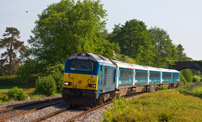 67001 with the 1V31 05:33 Holyhead to Cardiff Central service running a few minutes late. Seen here just north of Tram Inn on the 7th of June 2013.