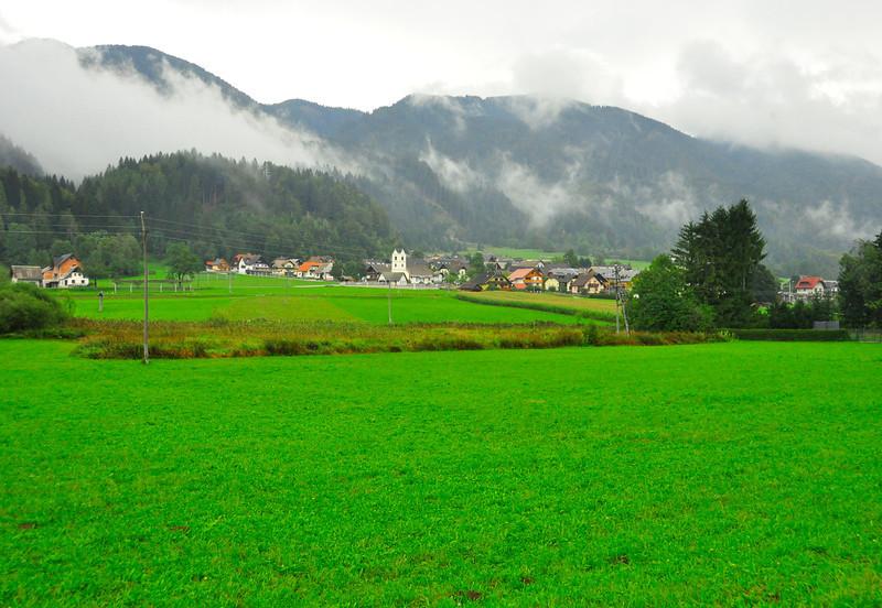 Misty morning view of Podkoren