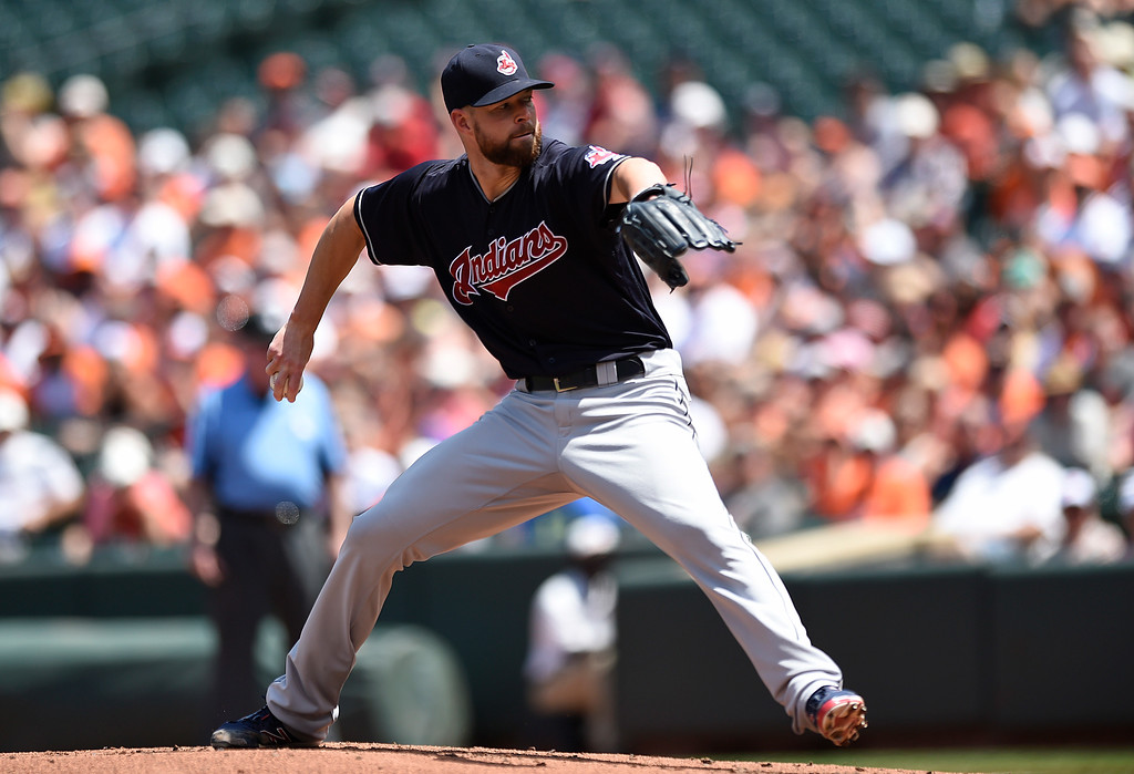 . Cleveland Indians pitcher Corey Kluber throws against the Baltimore Orioles in the first inning of a baseball game, Sunday, July 24, 2016, in Baltimore. (AP Photo/Gail Burton)