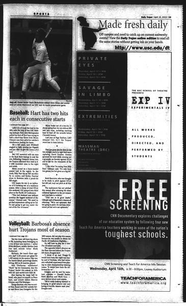 Daily Trojan, Vol. 148, No. 56, April 16, 2003
