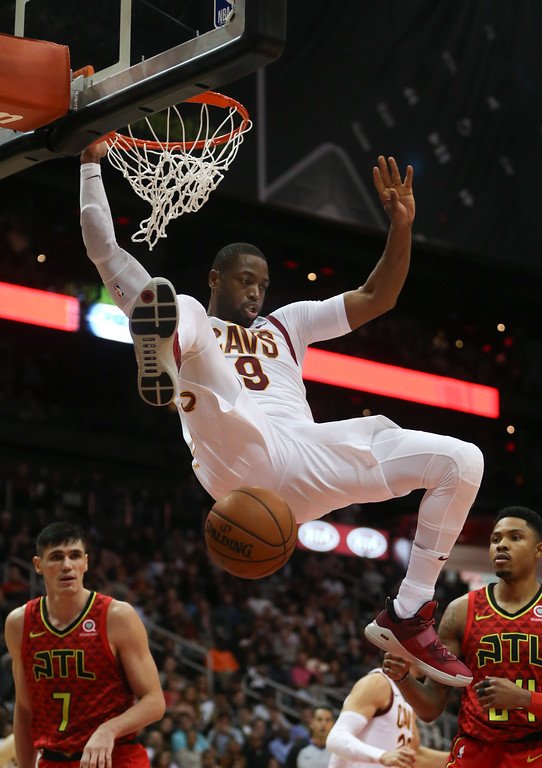 . Cleveland Cavaliers guard Dwyane Wade (9) scores against the Atlanta Hawks in the second half of an NBA basketball game Thursday, Nov. 30, 2017, in Atlanta. Cleveland won 121-114. (AP Photo/John Bazemore)
