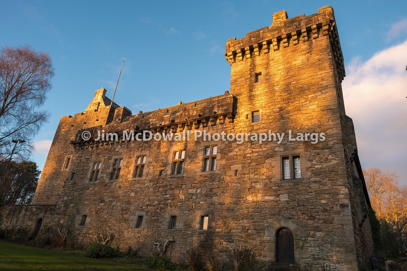 Majestic Buildings of Dean Castle Tower in Late Afternoon Sunlight in East Ayrshire Kilmarnock Scotland.