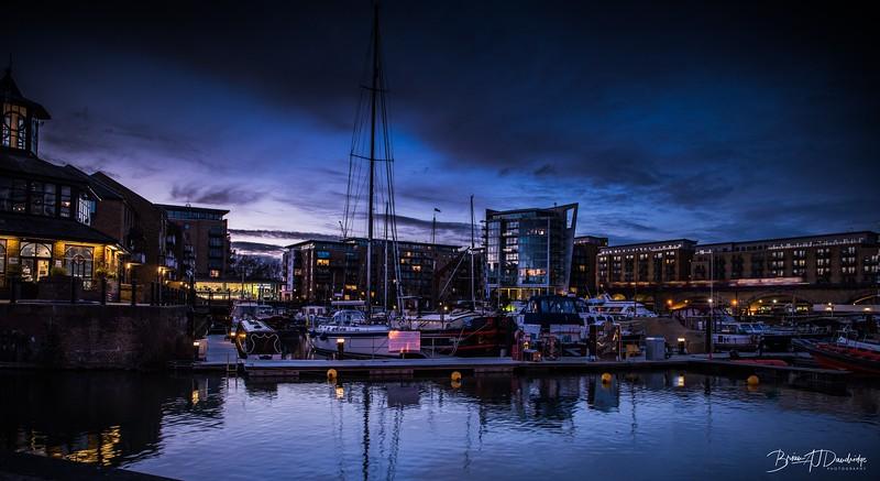 Night falls on Limehouse Marina