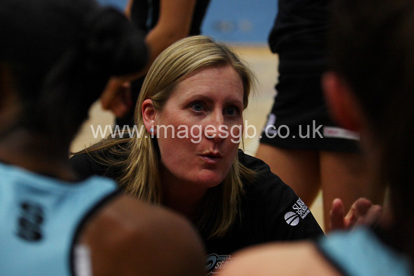 Mel Mansfield during  Surrey Storms 63 v 42 win against Hertfordshire Mavericks at Surrey Sports Park on the 29 April 2013 (ImagesGB)